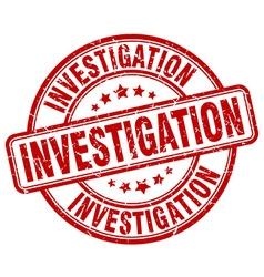Investigation red grunge round vintage rubber vector