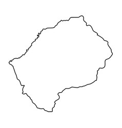 Lesotho map of black contour curves on white vector