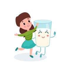 lovely girl playing with humanized glass of milk vector image