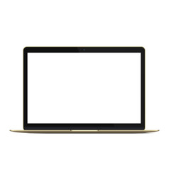Modern rich golden ultrabook notebook laptop vector