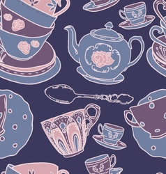 Pattern with teapots teacups vector image