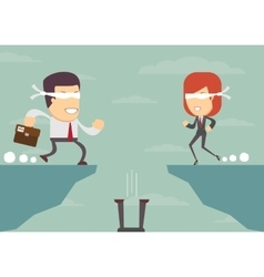 People blindly concept of risk in business vector