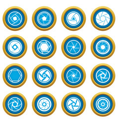 Photo diaphragm icons blue circle set vector