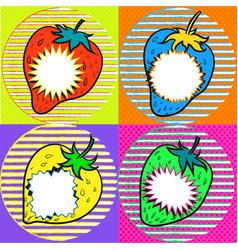 Pop art strawberry with speech bubbles vector