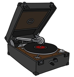Retro portable mechanical gramophone vector