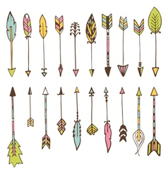 Set of hand drawn arrows doodles design elements vector image vector image