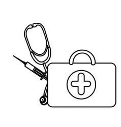 silhouette suitcase health with stethoscope and vector image