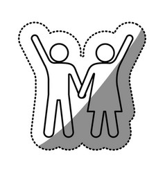 sticker silhouette pictogram man and woman taken vector image vector image