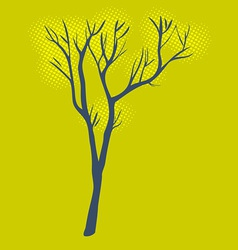 Stylized single tree on textured background vector image vector image