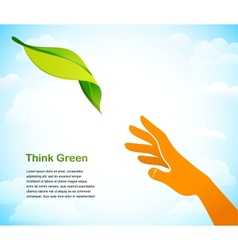 Think green - background with two hands vector image