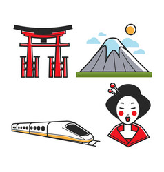 traditional japanese set vector image