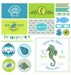 Vintage Seahorse Party Set - for Party vector image vector image