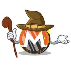 Witch monero coin character cartoon vector