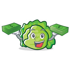With money lettuce character cartoon style vector