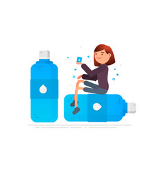 woman drinks water protection against germs vector image vector image