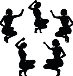 woman silhouette with hand gesture triumph sign vector image