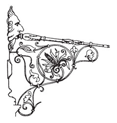 Wrought-iron bracket directly vintage engraving vector