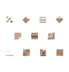 Linoleum brown flat style icons set vector