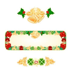 Banner christmas spruce with bells and ribbons vector