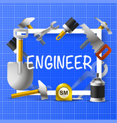 Collage of an engineer in a frame vector