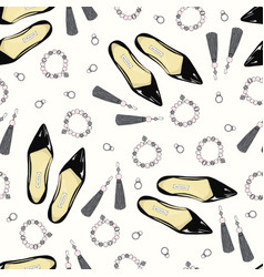 A pattern of women shoes and accessories on a pink vector