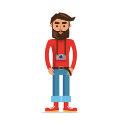 Male character photographer isolated vector