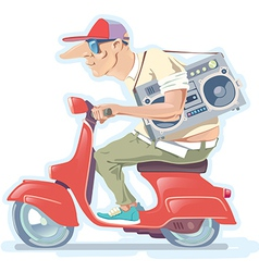 Man on the scooter vector
