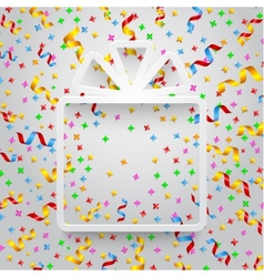 Empty gift box with ribbon and confetti vector