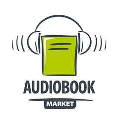 Logo green book with headphones vector