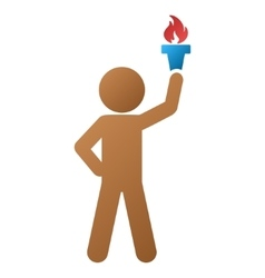 Child with freedom torch gradient icon vector