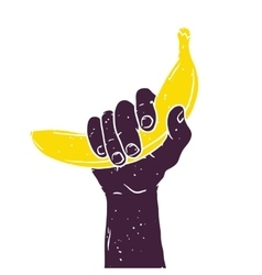 Hand with banana isolated vintage vector