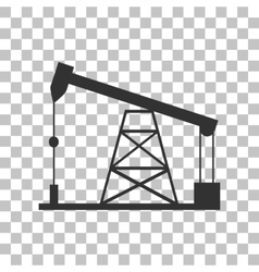 Oil drilling rig sign dark gray icon on vector