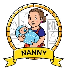 Funny mother or nanny with baby emblem vector
