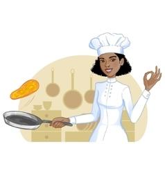 African american cook girl tosses pancake in pan vector