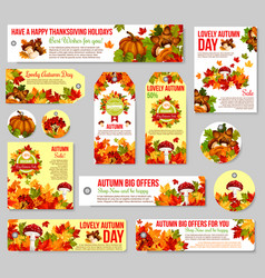 Autumn sale tag and fall discount offer label set vector