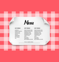 Cafe or restaurant menu design with curved paper vector