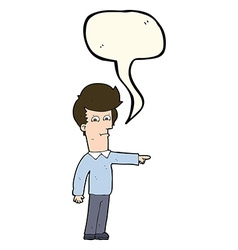 Cartoon man pointing with speech bubble vector