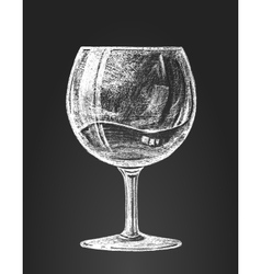Chalk drawing of a wineglass vector