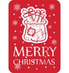 Christmas card with santa bag vector
