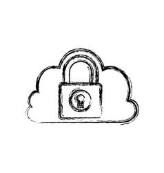 cloud padlock security vector image
