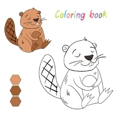 Coloring book beaver kids layout for game vector