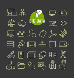 different big data icons collection web and vector image vector image