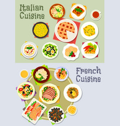 French and italian cuisine dinner icon set vector