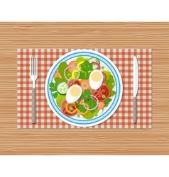Fresh vegetable salad with egg on plate vector