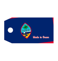 Guam flag on price tag with word made in guam vector