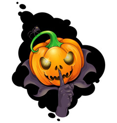jack o lantern with spider vector image