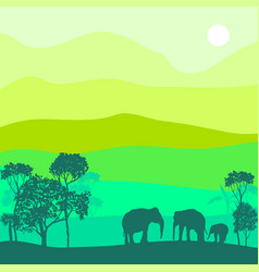 Landscape with elephants vector
