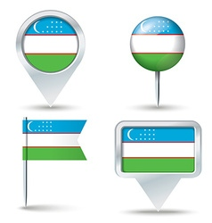Map pins with flag of Uzbekistan vector image