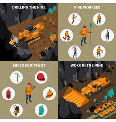 Miner People 2x2 Isometric Icons Set vector image vector image