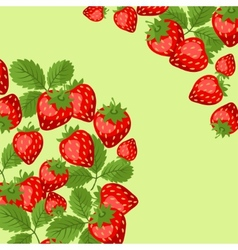 Nature background design with strawberries vector image